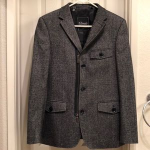 7 Diamonds Men's Pea Coat Small Dark Grey